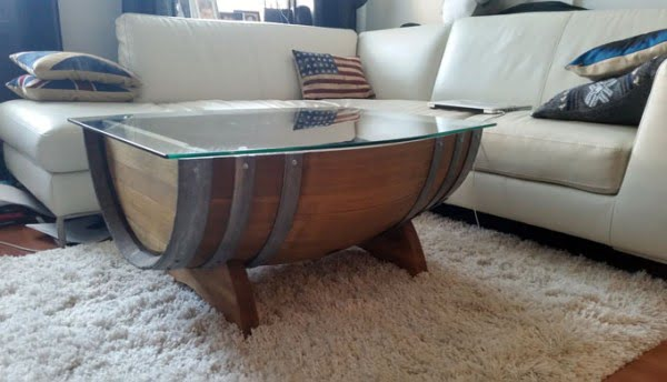 repurposed wine barrel