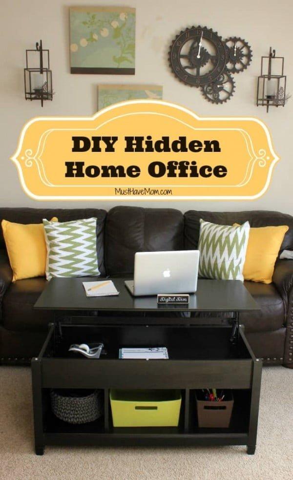DIY Hidden Home Office #DIY #homedecor #storage