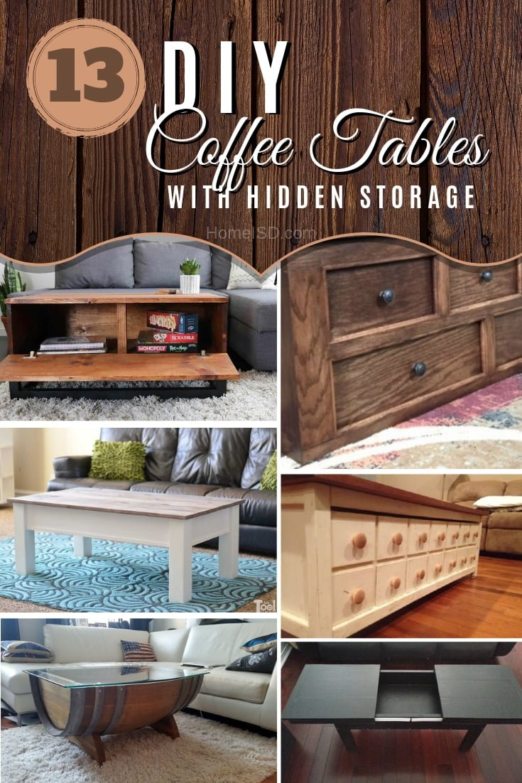 Build a DIY coffee table with hidden storage. Here are 13 easy ideas to choose from - great list! #DIY #homedecor #furniture #storage
