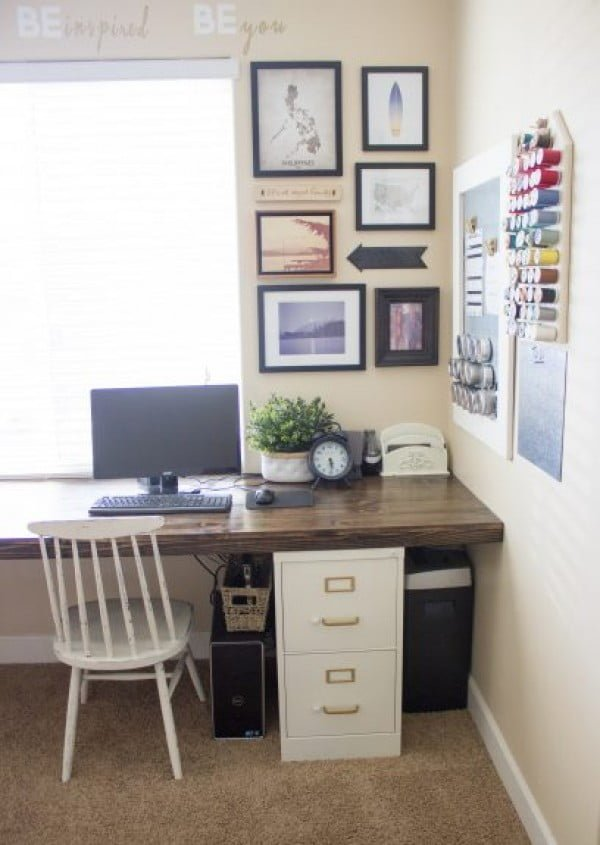 DIY File Cabinet Desk Tutorial #DIY #homedecor #furniture