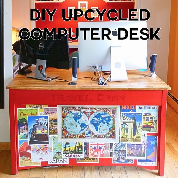 DIY Computer Desk Upcycled From a Broken Table #DIY #homedecor #furniture