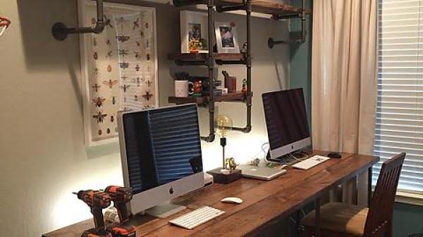 Pipe & wood office #DIY #homedecor #furniture