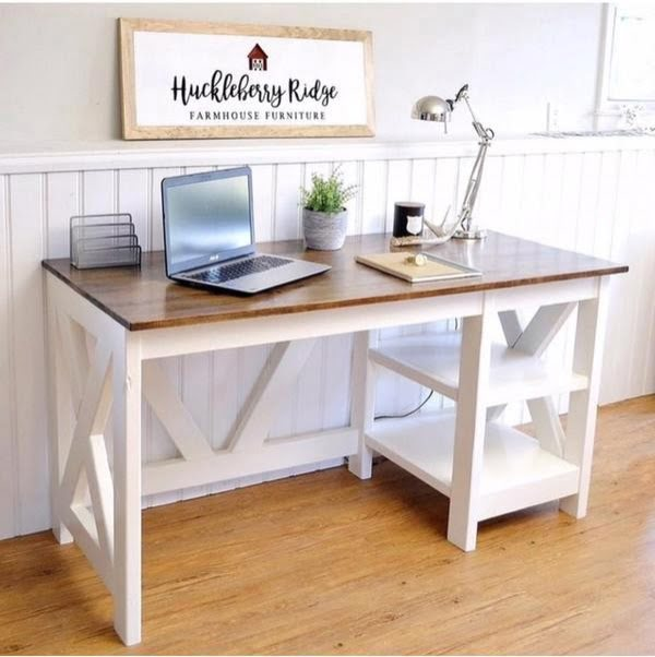 Farmhouse X Office  Desk #DIY #homedecor #furniture