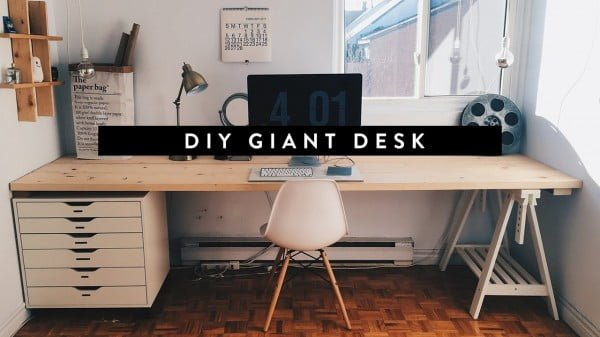 DIY GIANT HOME OFFICE DESK #DIY #homedecor #furniture