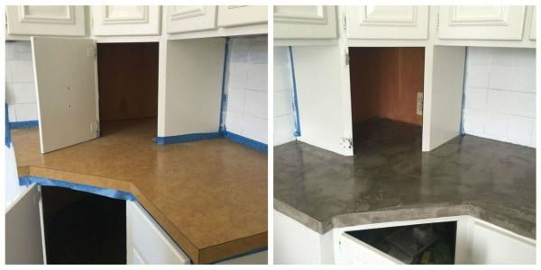 This DIY is the Easiest (and Cheapest) Way to Fake Concrete Countertops #DIY #kitchendesign #homedecor