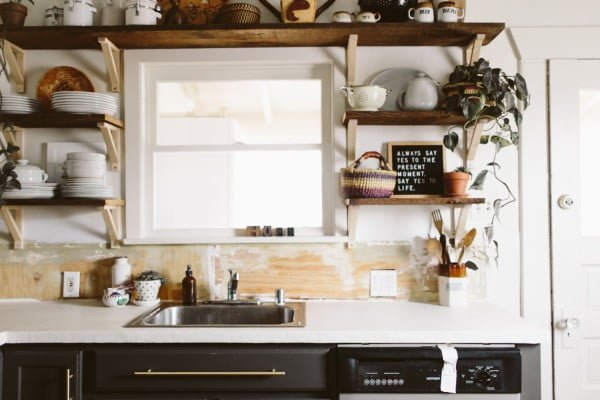 DIY White Concrete Skimcoat Countertop #DIY #kitchendesign #homedecor