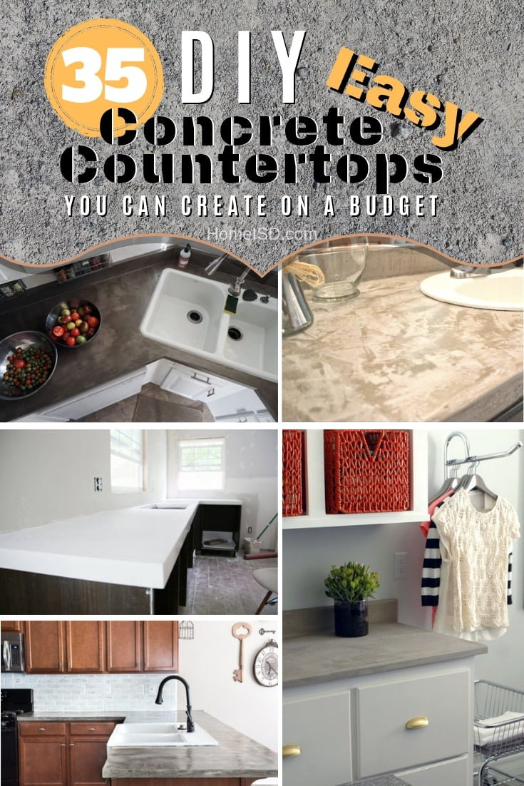 Want to create DIY concrete countertops for the kitchen or bathroom? Here are 35 easy ideas to choose from. Great list! #DIY #kitchendesign #homedecor