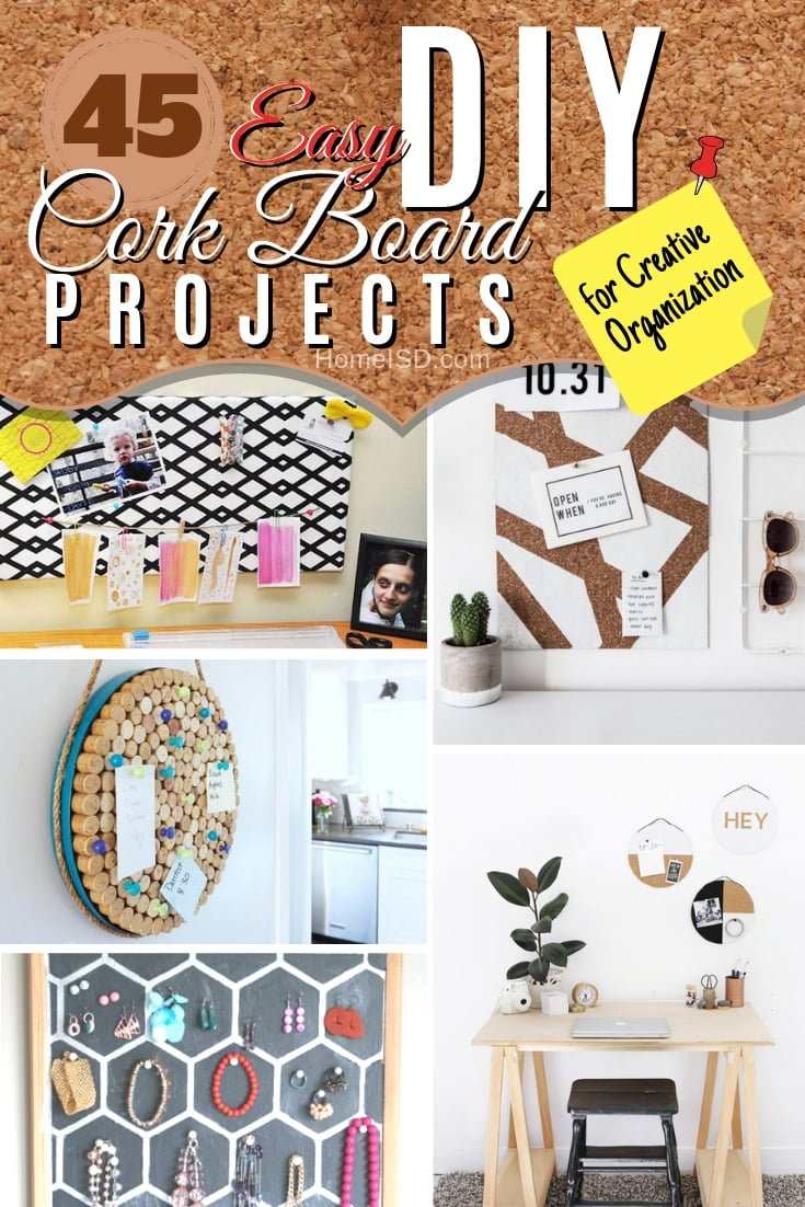 Make one of these amazing DIY cork boards for creative organization at home or office. Great list! #DIY #homedecor