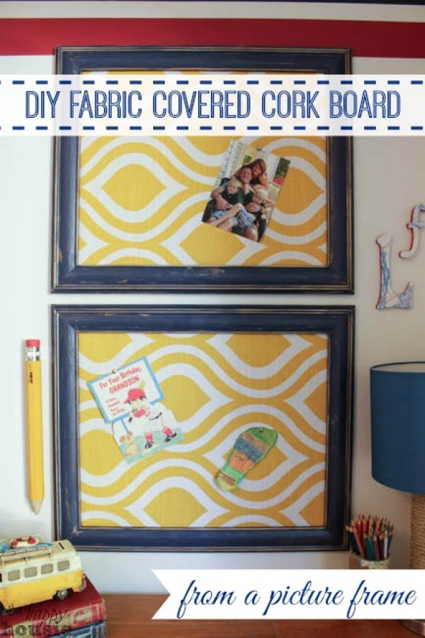 DIY Fabric Covered Cork Board using a Picture Frame #DIY #homedecor #homeoffice