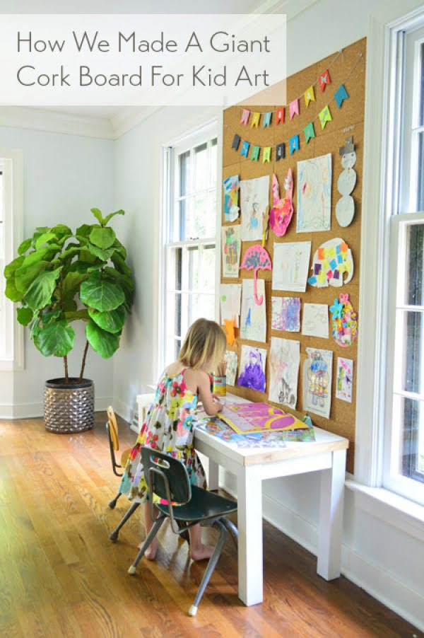 How To Make A Giant Cork Board Wall For Kid Art #DIY #homedecor #homeoffice