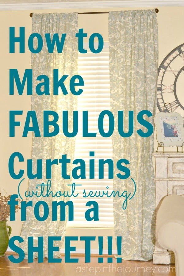 Fabulous Curtains from a Twin Size Sheet! #DIY #homedecor