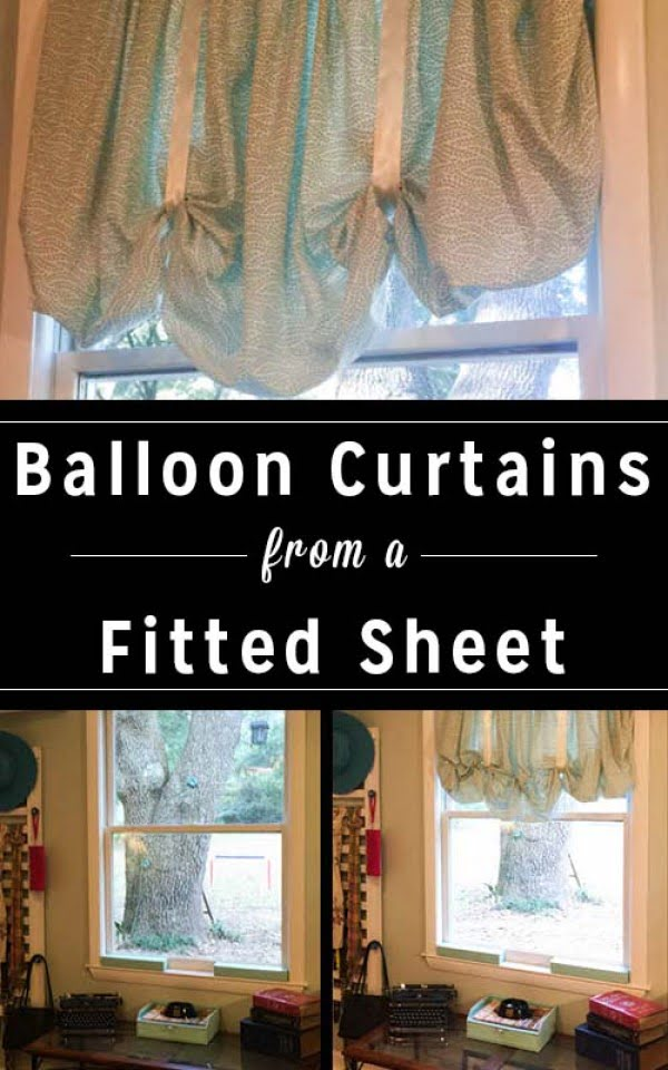 DIY Balloon Curtains from a Fitted Sheet • Crafting a Green World #DIY #homedecor
