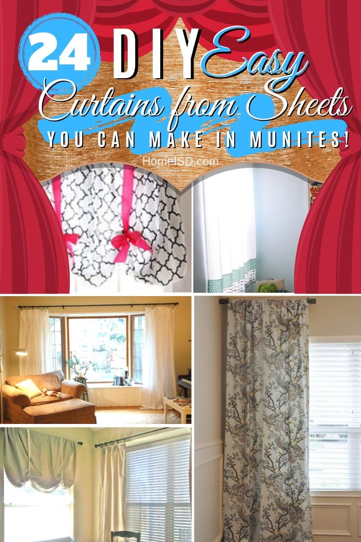Make easy curtains form bed sheets! Here are 24 easy ideas on how to make DIY curtains from sheets. Great list! #homedecor #DIY