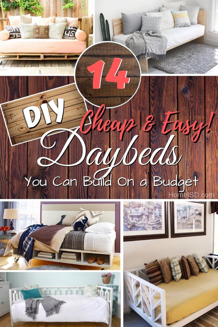 Build a DIY daybed the easy way. These 14 great tutorials make it really easy. Great list! #homedecor #DIY #furniture