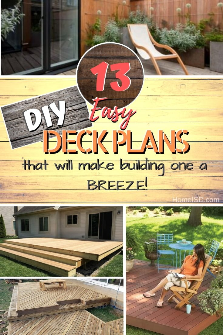 Want to build your own DIY deck? Here are the easiest plans you will find. What a great list! #DIY #deck #woodworking