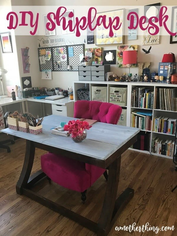 Amazing and Inexpensive DIY Shiplap Desk | It's A Mother Thing #DIY #homdecor