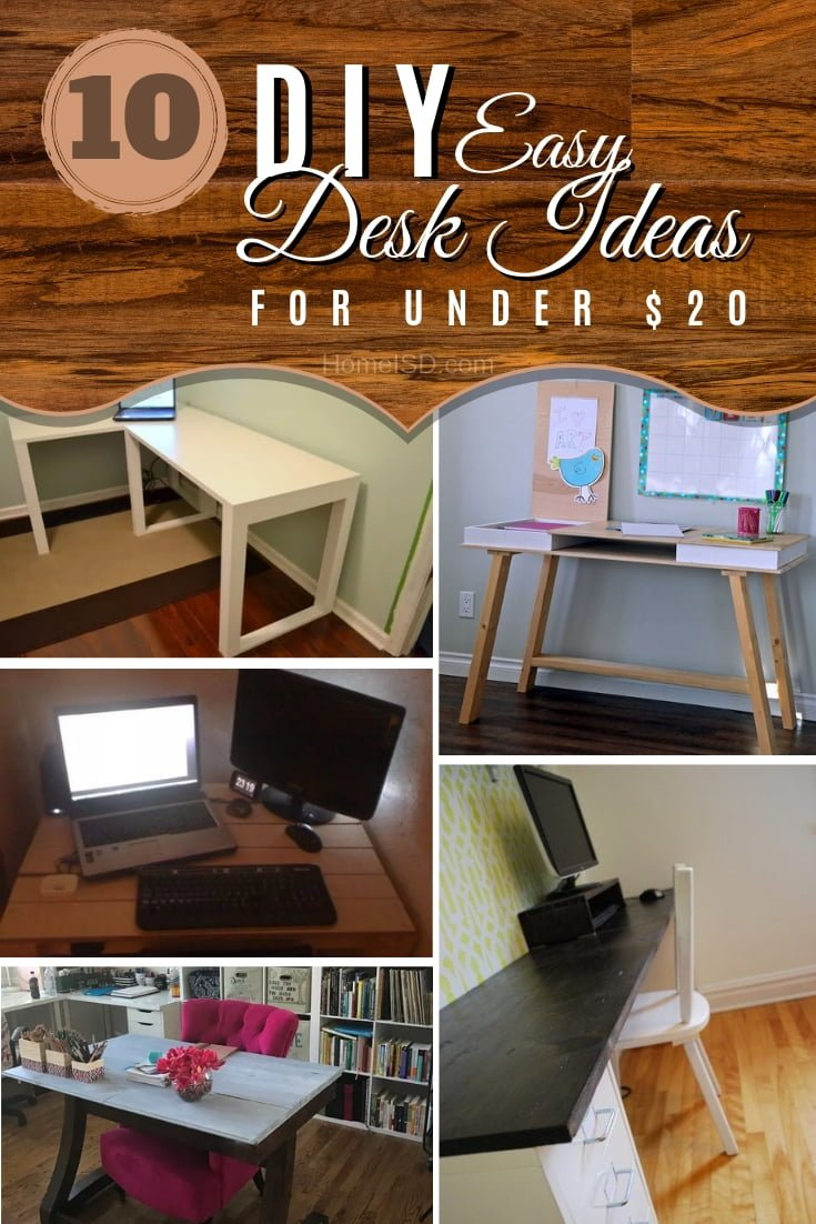 Build a DIY desk for under $20. Choose from 10 easy project ideas. Great list! #DIY #homedecor
