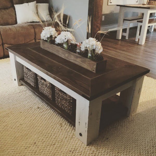 DIY Chunky Farmhouse Coffee Table Plans