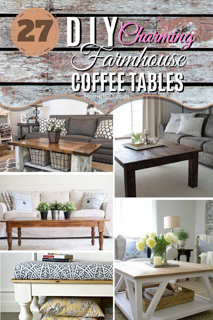 Going after the farmhouse look in your home? One of these 27 stunning DIY farmhouse coffee tables will find a great place in your home. What a great list! #DIY #homedecor #farmhouse