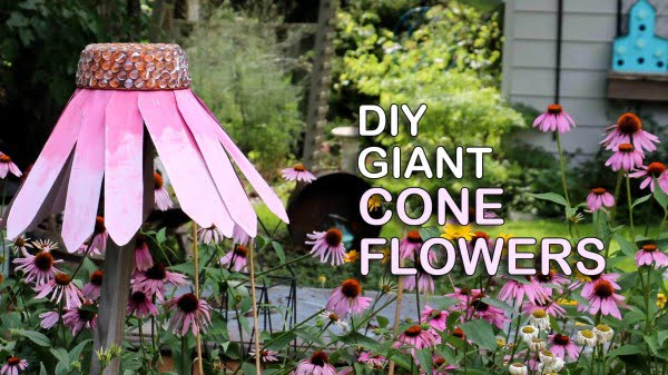 DIY Giant Garden Art Coneflowers   art