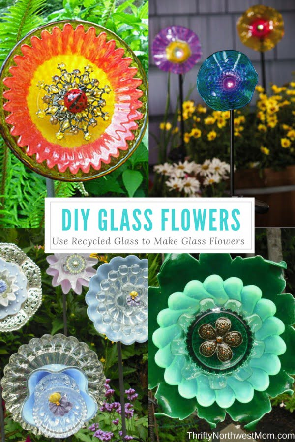 DIY Glass Flowers using Recycled Glass   art