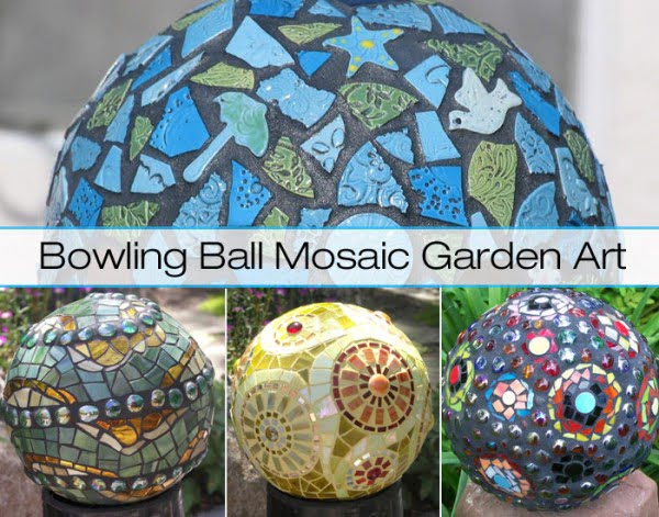 Recycle Bowling Balls Into Mosaic Garden Art!   art