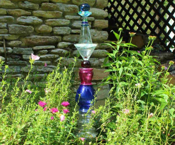 DIY Glass Garden Art Totem   art