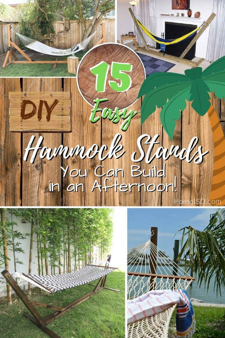 Hang a hammock in your backyard even if you don't have any trees. 15 great easy ideas to choose from! #DIY #backyard #outdoors