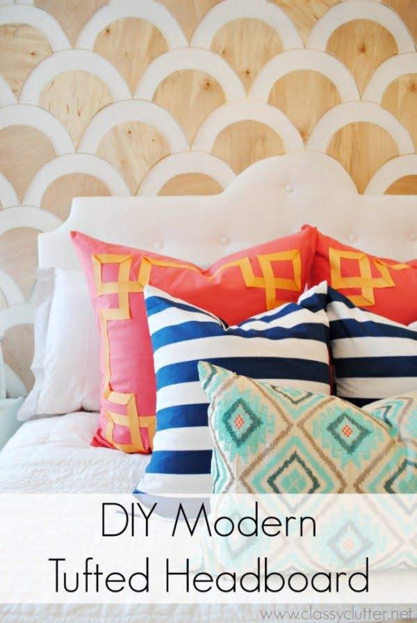 DIY Modern Tufted Headboard #diy #homedecor #bedroomdecor