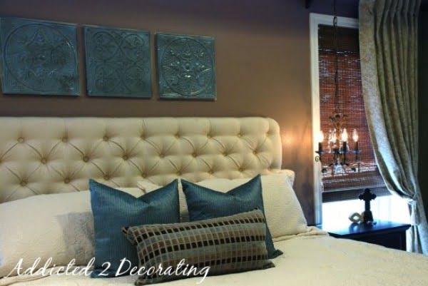 Diamond-Tufted Upholstered Headboard #diy #homedecor #bedroomdecor