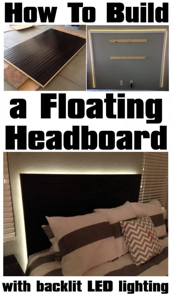 DIY Headboards floating look with LED