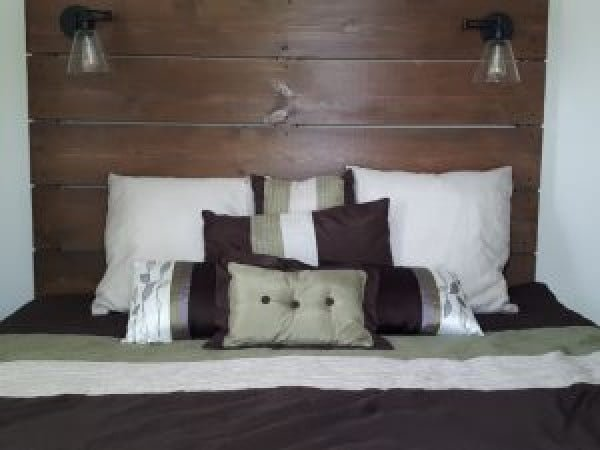 Wooden Headboard With Built In Lights - 1 Heart, 1 Family