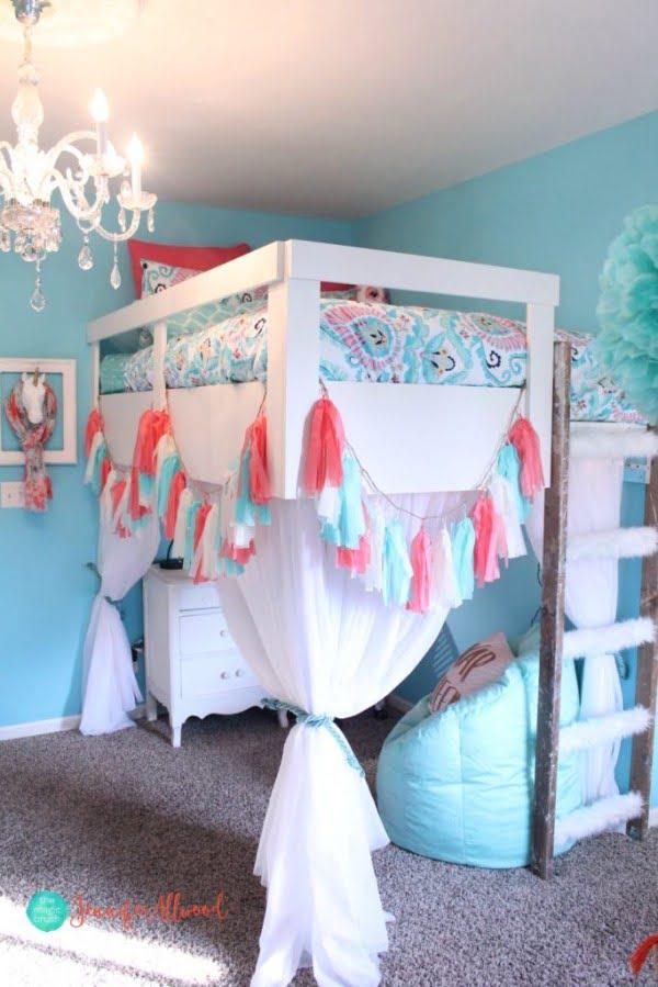 How to Build a Loft Bed for a Girls Bedroom #DIY #furniture #bedroom #homedecor