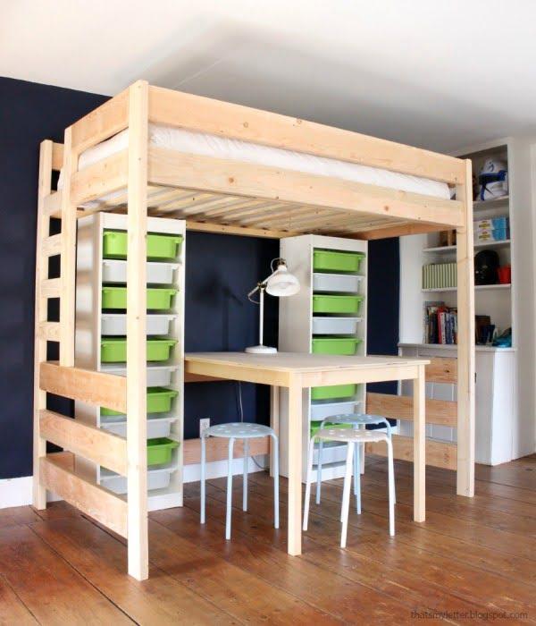 DIY Loft Bed with Desk and Storage #DIY #furniture #bedroom #homedecor
