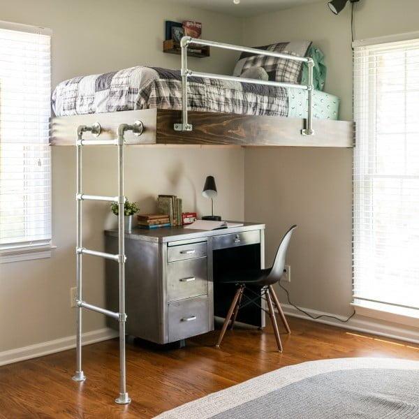 DIY Loft Bed for Boy's Room #DIY #homedecor #furniture #bedroom