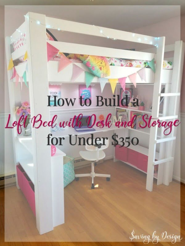 How to Build a Loft Bed with Desk and Storage #DIY #homedecor #furniture #bedroom