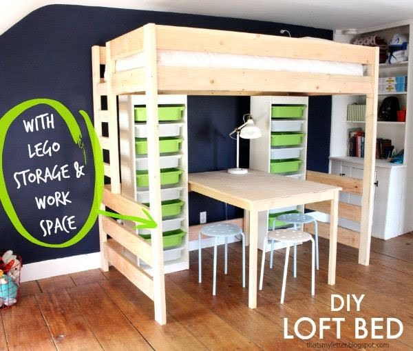 DIY Loft Bed with Lego Storage & Work Space