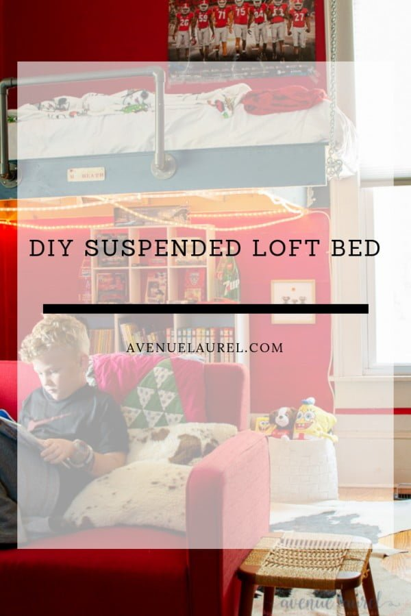 Beau's room: Our suspended DIY loft bed