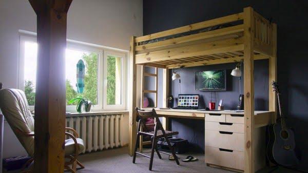 The DIY Loft Bed Workspace #DIY #homedecor #furniture #bedroom