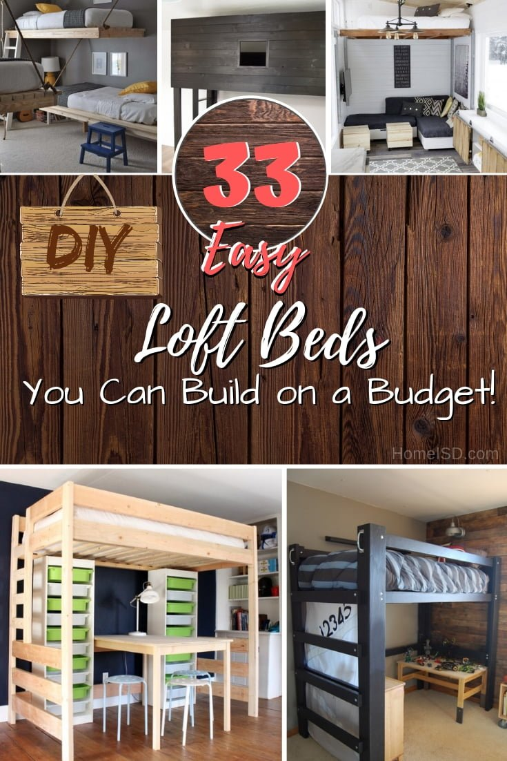 Save tons of space in the bedroom by building a DIY loft bed on a budget. A great list of 33 easy ideas with plans! #DIY #homedecor #furniture #bedroom