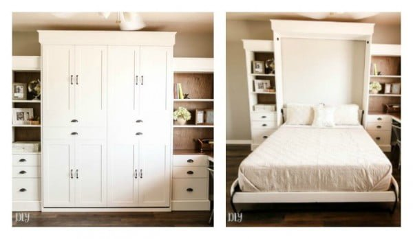 DIY Modern Farmhouse Murphy Bed with Bookcase #DIY #furniture #bedroomdecor #homedecor