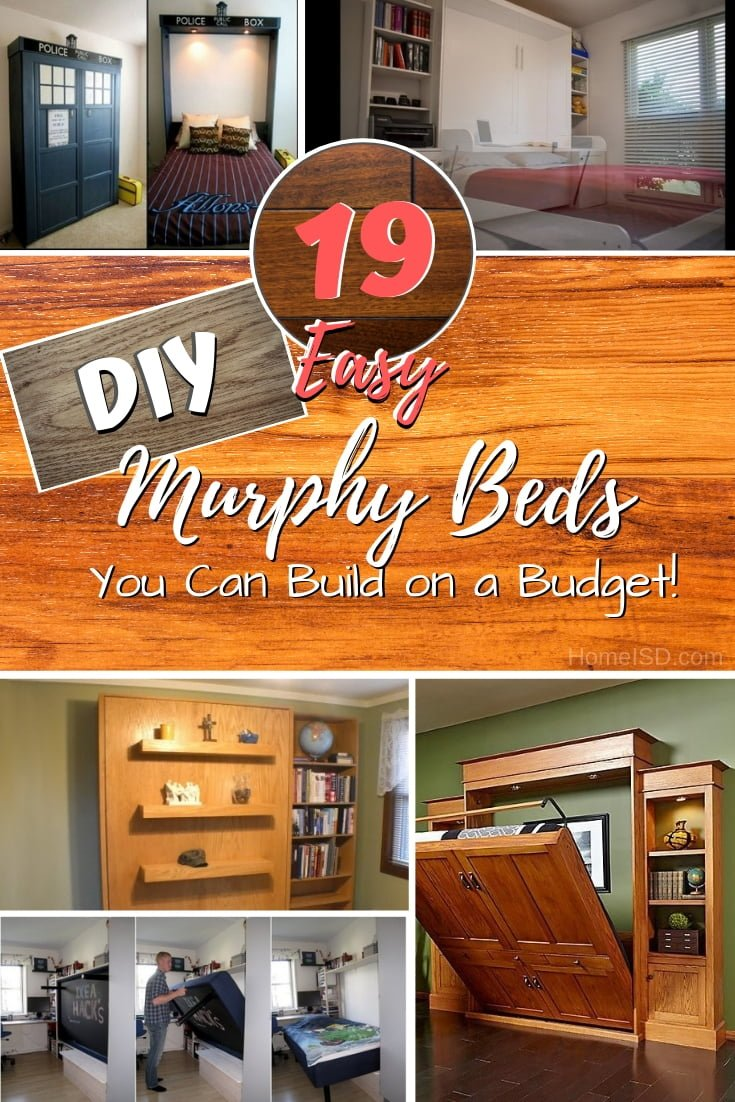 Save tons of room space and money by building a DIY murphy bed. These are 19 great easy ideas with plans and instructions. What a great list! #DIY #homedecor #bedroomdecor