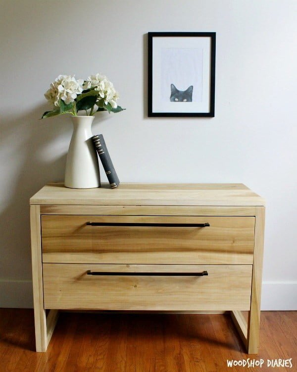 DIY Modern Two Drawer Nightstand