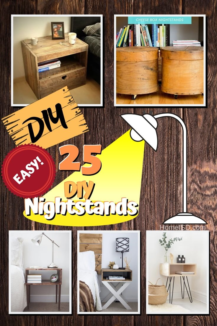 A nice nightstand is a great way to revamp your bedroom decor. And here is a wonderful list of 25 easy DIY nightstand ideas that you can build on a budget. Worth saving! #DIY #homedecor #bedroomdecor