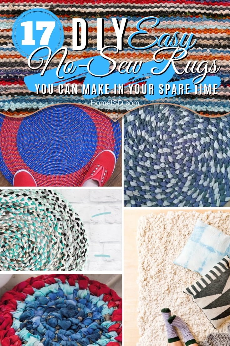 Make one of these amazing DIY no-sew rugs in your spare time. Here are 17 easy tutorials to try. Great list! #DIY #homedecor #nosew