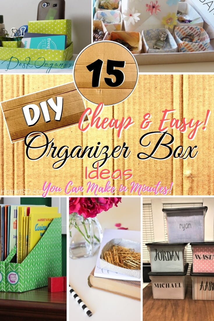 DIY organizer box ideas for extra storage and home organization. Some of these ideas are really brilliant. Great list! #DIY #organize #storage