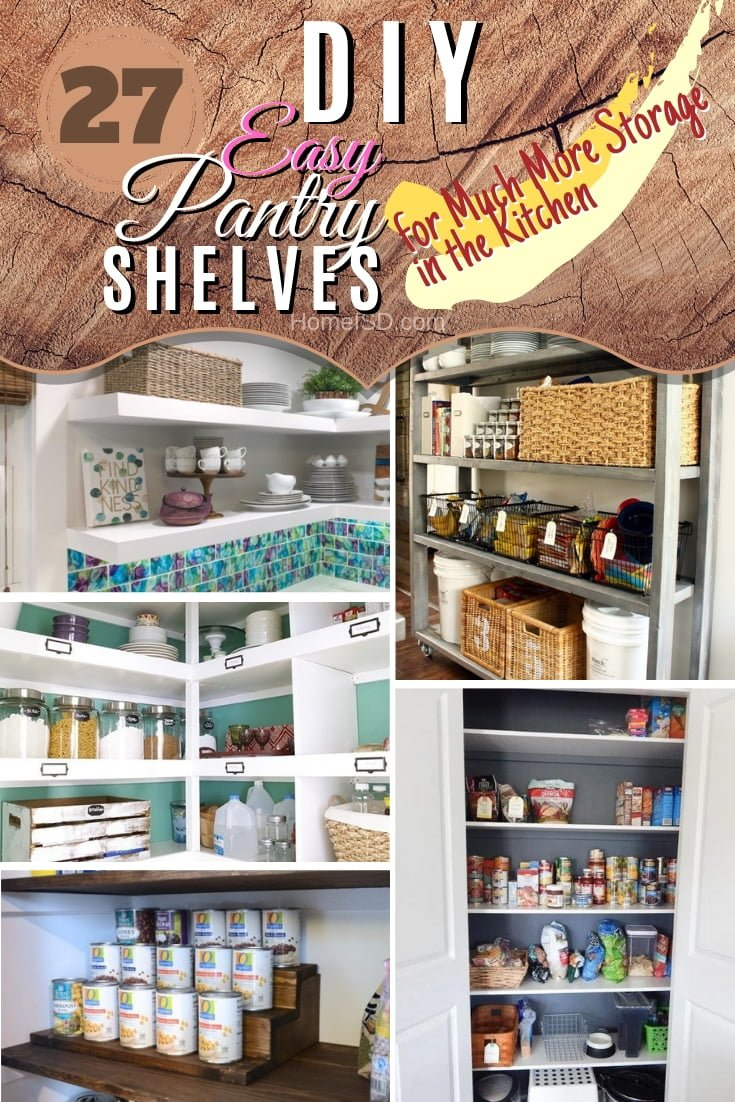 Have your pantry storage overflowing to the kitchen? Use one or more of these 27 great DIY pantry shelving ideas for much more kitchen storage. Great list! #DIY #kitchendesign