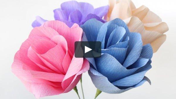 DIY Crepe Paper Flowers #DIY #crafts #homedecor