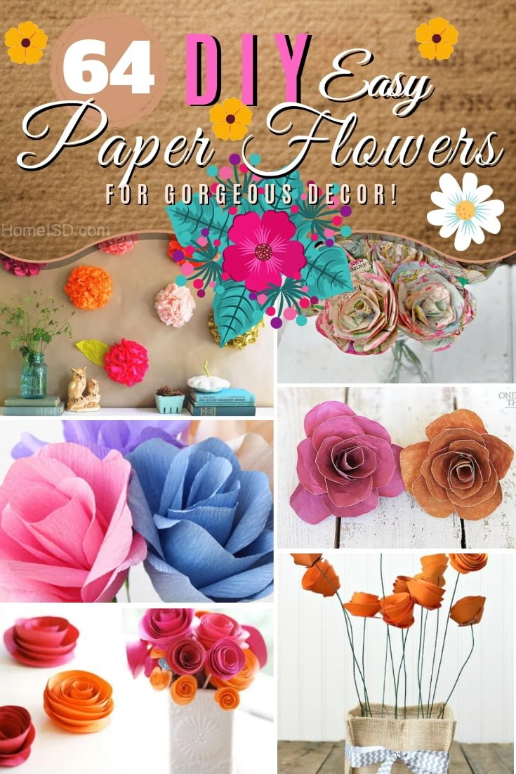 Make DIY paper flowers for gorgeous home decor using these 64 easy tutorials. Great list! #DIY #homedecor #craft