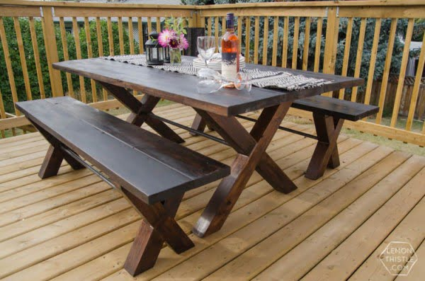 DIY X Leg Patio Table with Pipe Trestle #DIY #patio #outdoors #backyard #furniture